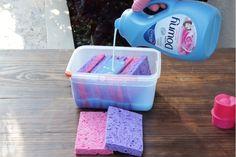 21 Sponge Hacks You Need to Know Household Cleaning Tips, Cleaning Recipes, House Cleaning Tips, Deep Cleaning, Cleaning Hacks, Car Cleaning, Spring Cleaning, Cleaning With Peroxide, Hydrogen Peroxide Uses