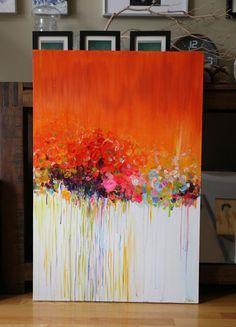 ORIGINAL abstrakte Malerei Acryl Blume Malerei von artbyoak1