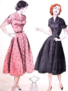 1950s Lovely Button Front Dress Pattern BUTTERICK 6871 Gathered Yoke Figure Flattering Design Bust 34 Vintage Sewing Pattern