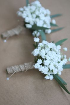 Gypsophila buttonholes - could do with olive? http://www.bloomingmore.com/collections/fillers/products/gypsophila?variant=23390081735