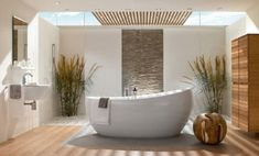 bathroom wood floor and stone wall accent