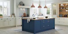 blue island in white kitchen