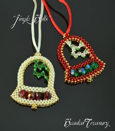 """Jinge Bells"" Beaded Christmas Ornament Tutorial by Iulia Postica from BeadedTreasury #beading #pattern #seedbeads #bells"
