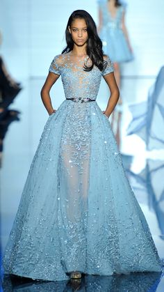 Zuhair Murad Haute Couture Spring/Summer 2015 via @stylelist | http://aol.it/1Am816S baby blue beaded