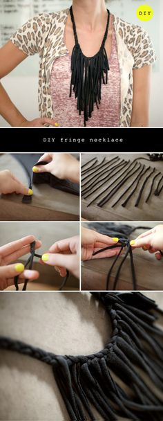 DIY fringe necklace. #DIY #necklace