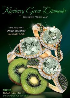 Love these GREEN LeVian rings -- Might need to switch to GREEN diamonds from Chocolate