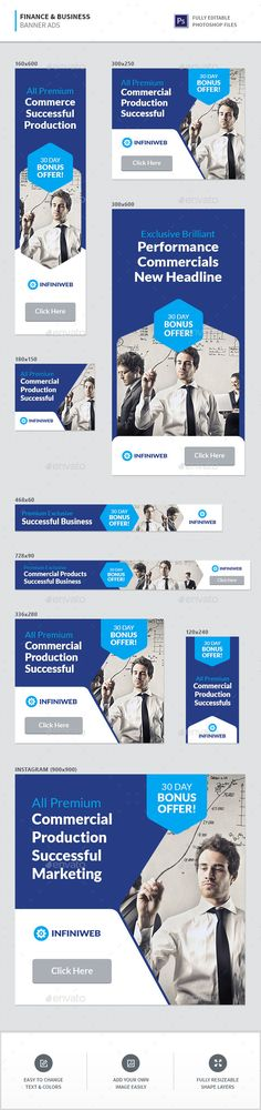 Finance & Business Banner Ads Template PSD