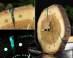 Personalized Clock, Wall Clock, Wooden Wall Clock, Wood Clock, Glow in the Dark Clock, Photo Clock, Wooden Clocks, Slice Wood Clock, Unique