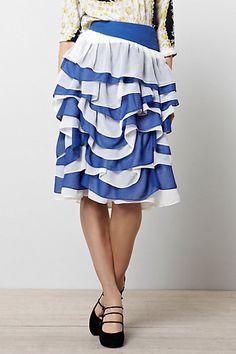 blue and white ruffled skirt