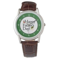 Happy Father's Day Brown Leather Watch