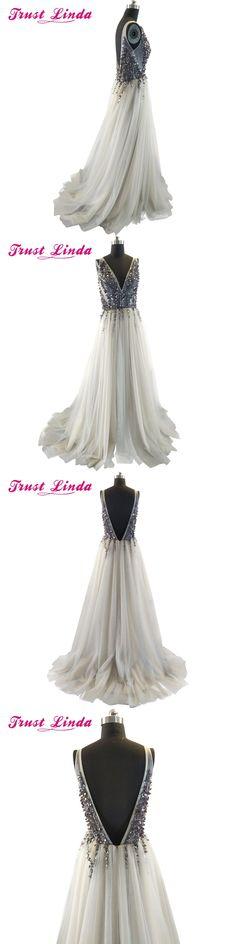 2017 Sexy Paolo Sebastian Evening Dresses Deep V Neck Sequins High Split Long Gray Evening Gowns Sheer Backless Berta Prom Dress