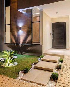 Modern Front Yard Landscaping Design Ideas On A Budget 24 Modern Front Yard, Modern Entrance, Entrance Design, House Entrance, Door Design, Entrance Ideas, Design Exterior, Interior Exterior, Container House Design