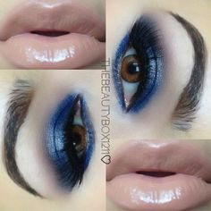 Love the nude lip/navy eye combo