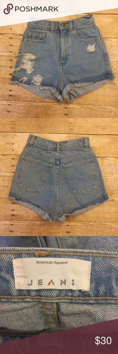 American Apparel High Waisted Shorts Distressed denim shorts. EUC. American Apparel Shorts Jean Shorts