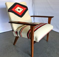Rare MID CENTURY Walnut LOUNGE CHAIR VTG NAVAJO RUG Saddle Blanket Danish  Eames