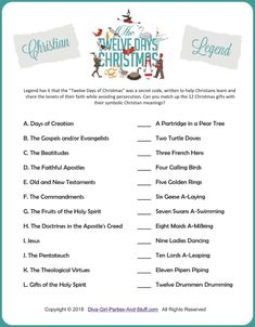 12 days of Christmas legend game based on the story of Christians using the song lyrics as a secret code to learn and share their faith while avoiding persecution. Can you match each gift with its symbolic Christian meaning? Christmas Riddles, Days Of Christmas Song, Christmas Trivia Games, Christmas Gift Exchange Games, Christmas Family Feud, Christmas Quiz, The Night Before Christmas, Xmas Games, Christmas Playlist