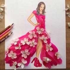 Armenian Fashion Illustrator Creates Stunning Dresses From Everyday Objects Pics) Arte Fashion, Floral Fashion, Vintage Fashion, Fashion Design Drawings, Fashion Sketches, Fashion Illustrations, Moda 3d, Illustration Blume, Dress Drawing
