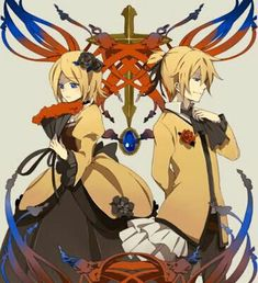 Daughter Of Evil(Rin, Left) And Servant Of Evil(Len, right) Len Y Rin, Kagamine Rin And Len, Kaito, Hatsune Miku, Vocaloid Funny, Servant Of Evil, Mikuo, Fan Art, Anime Characters
