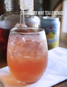 Strawberry mint tea lemonade for a cool, refreshing drink for the end of a long day!