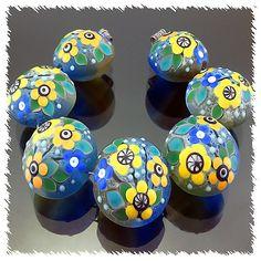 PIKALDA=handmade lampwork 7 bead glass=ORANGE LEMON=SRA