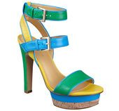 """As seen in the March issue of Seventeen.....Colorblock strappy sandal with cork platform and dual adjustable ankle straps. Measurements: heal 4"""" and platform 1""""."""