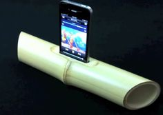 The bamboo speaker is essentially a 1-foot length of bamboo with a slot carved out of the top for the iPhone to snuggle into. The sound reverberates through the pipe and amplifies the tunes you're listening to.