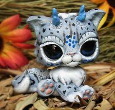 Littlest Pet Shop Snow Jaguar Dragon Spirit OOAK custom figure LPS chibi