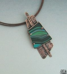 handmade pendant with polymer clay piece set  with a bezel-tab  combination - Gisela Kati