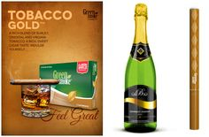 Tobacco Gold и Spumant Muscat Tobacco Smoking, Muscat, Smoke, Drinks, Bottle, Green, Gold, Cigars, Drinking