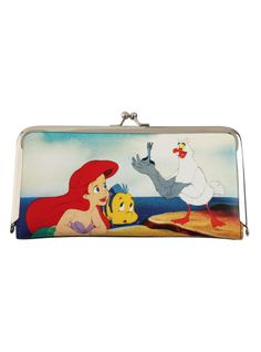 Faux leather The Little Mermaid kisslock wallet with interior pockets, card slots and clear ID display.