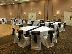 Ivory Chair Cover With Navy Chair Tie