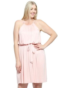 TheMogan Women's Casual Keyhole Back Strappy Fit And Flare Blouson Tank Dress -- Don't get left behind, see this great  product : Plus size dresses