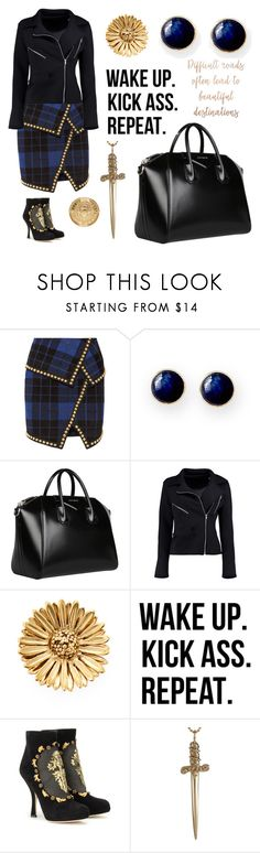 """Golden student"" by sgthompson ❤ liked on Polyvore featuring Balmain, Mark & Graham, Givenchy, Boohoo, Aurélie Bidermann, WALL, Dolce&Gabbana, Jennifer Fisher, gold and black"