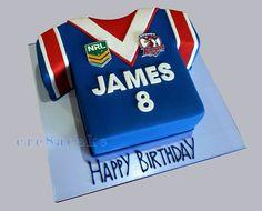 NRL Roosters Jersey Cake Birthday Cakes, Birthday Ideas, Happy Birthday, Roosters, Helmets, How To Make Cake, Kobe, Cake Ideas, Sydney
