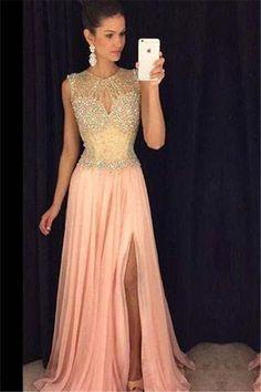 Sleeveless A-line Gorgeous Beads Chiffon Front-Split Prom Dress#prom#fashion#mermaid#dress#dressbarn#promdress#okdressesy#style#love#elegant#promgown#promdresses#style#events#evening#eveningwear#party#partyideas#rhinestones#gown#bridesmaid#lace#lacedress