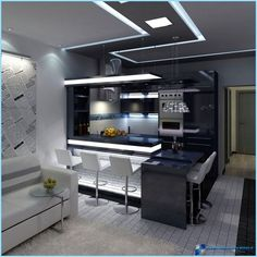 While contemporary kitchen design has been veering away from the monochromatic white kitchen look, we see more appearances of heavily black kitchens, with Kitchen Room Design, Luxury Kitchen Design, Contemporary Kitchen Design, Home Room Design, Living Room Kitchen, Home Decor Kitchen, Modern House Design, Interior Design Kitchen, Kitchen Walls