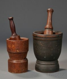 Two Turned Wood Mortar and Pestles, America, century, the larger mortar painted black