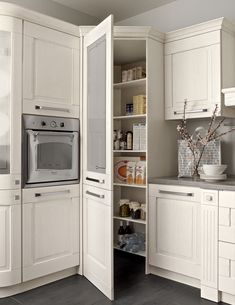 small looking corner pantry Kitchen Pantry Design, Modern Kitchen Cabinets, Home Decor Kitchen, Interior Design Kitchen, Kitchen Furniture, Home Kitchens, Cuisines Design, Kitchen Remodel, House