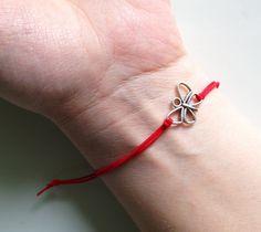 Red String Kabbalah Bracelets Silver Butterfly by BannerDesignShop