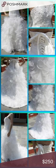 """New Custom Organza Ruffle Gown New never worn. Floor length gown. Strapless. Appliques/sequines down right side of gown just above waist. Court train. Lace up back. Bust 38"""". Waist 31"""". Hips 41.25"""". Hollow to hem 61"""". Height 69"""". Dresses Wedding"""