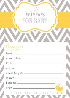 Wishes for Baby Card! Grey and yellow chevron! matching invitation at: https://www.etsy.com/listing/174959830/custom-chevron-baby-shower-invitation?ref=related-2