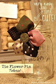 Tie Pin Tutorial - Have made several of these. They look good on a jean jacket.