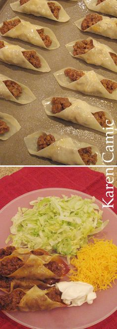 Baked WonTon Tacos - Small Wonton Wraps, Hamburger and Cheese. Bake at 400° for 10 minutes. Serve with lettuce, cheese and sour cream