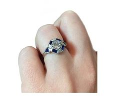 1-22Ct-Round-CZ-Art-Deco-Solitaire-Sapphire-Engagement-925-Sterling-Silver-Ring