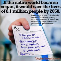 A powerful new study confirmed what we've been saying for years - transitioning everyone toward a vegan diet would save millions of human lives (not to mention billions of animal lives) and more than a trillion dollars, all while protecting the Earth. Vegan Facts, Vegan Memes, Vegan Quotes, Why Vegan, Vegan Vegetarian, Reasons To Be Vegan, Vegan Animals, Greenhouse Gases, Vegan Lifestyle