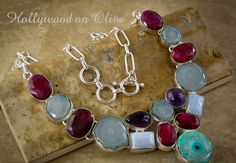 Agate Geode Blue Lace Ruby Amethyst Necklace