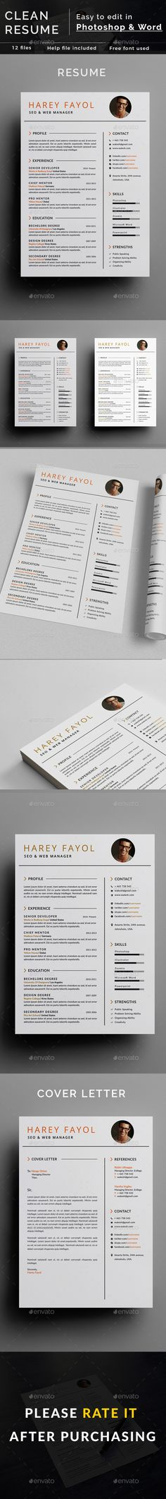 Clean #Resume - Resumes #Stationery Download here: https://graphicriver.net/item/clean-resume/19492426?ref=alena994