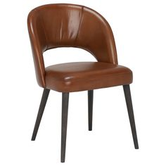 Beck Dining Chair, Brown Leather & Wood - Barker & Stonehouse