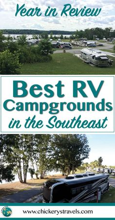 We review the best RV campgrounds in the Southeast that we visited in our Fifth Wheel this year. All are great options for couples and family road trips and full-time RV life! Tips on the best full hook-up campgrounds and RV parks in the Florida, Georgia, Virginia, Tennessee, and South Carolina. #RV #RVLife #RVTravel #camping