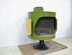 Mid Century Original Malm Fire Drum Green and Yellow Fireplace - this would look great on the patio